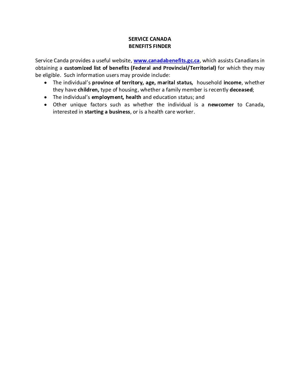 Benefits Finder Service Canada