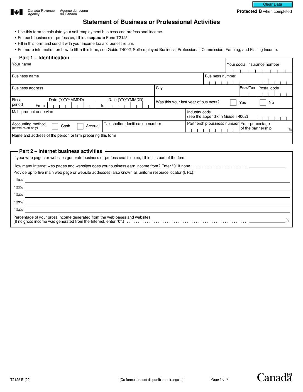 T2125 Business Statement 2020
